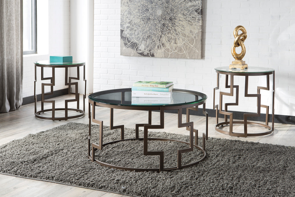 Dark Bronze Round 3 Piece Occasional Table Set