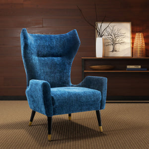 Lopez Velvet Wing Accent Chair in Navy or Grey