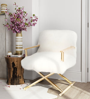 White Sheepskin Fur Accent Chair
