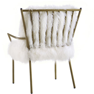 Sheepskin Fur Accent Chair with Rose Gold Frame