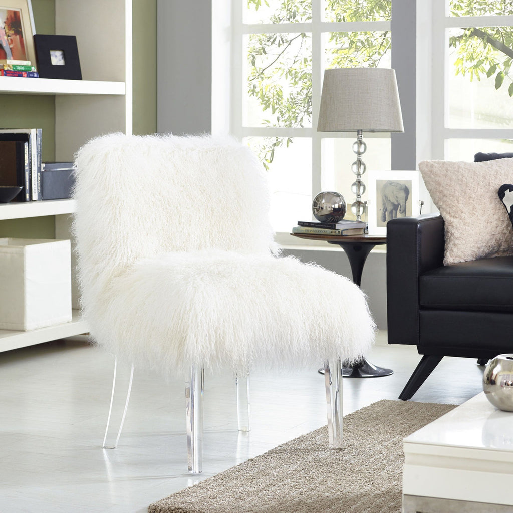White Sheepskin Fur Accent Chair with Acrylic Legs