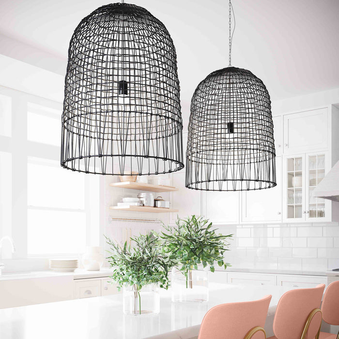 Iron and Rattan Pendant