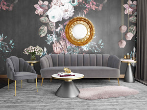 Lacey Velvet Living Room Collection in Sea Blue, Pink or Grey
