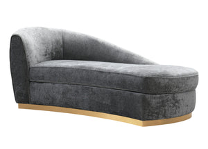 Dell Velvet Chaise in Grey or Blush