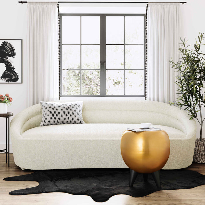 Ellis Plush Sofa in Black Velvet or Cream Boucle