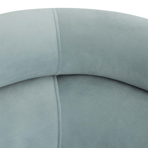 Mack Channel Tufted Sofa in Sea Blue Velvet or Cream Linen