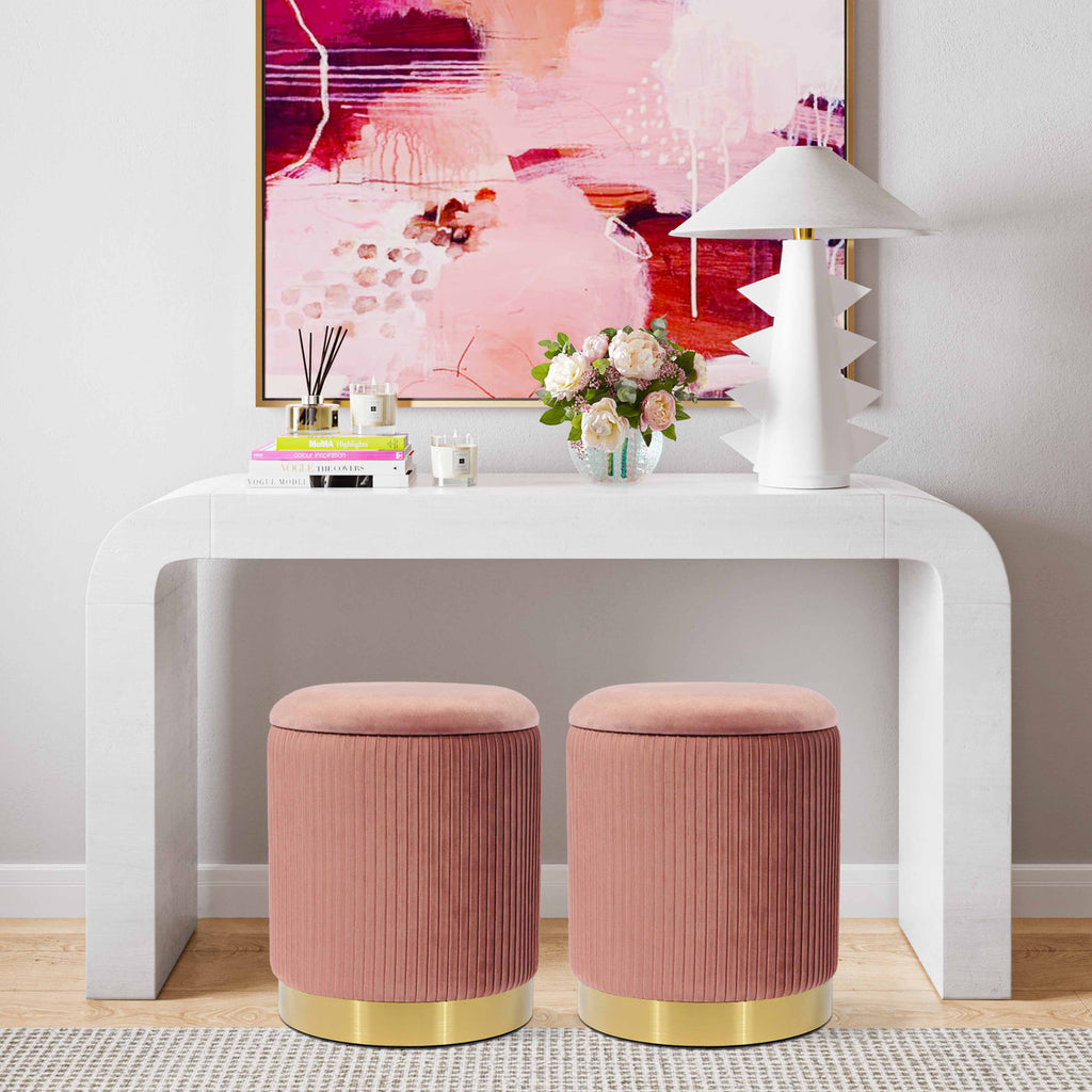 Velvet Storage Ottoman with Gold Base in 3 Color Options
