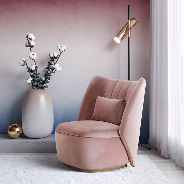 Reign Velvet Accent Chair in Blue or Blush