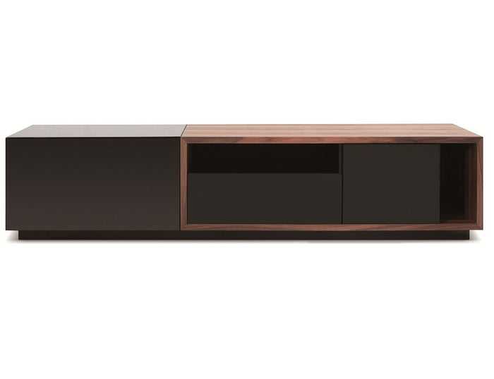 Joseph TV Stand in  Walnut and Black Lacquer