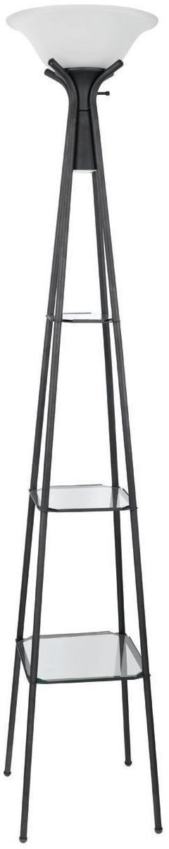 Torchiere Floor Lamp with Clear Glass Shelving