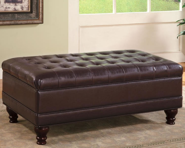 Traditional Oversized Faux Leather Storage Ottoman