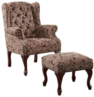Traditional Wing Chair and Ottoman