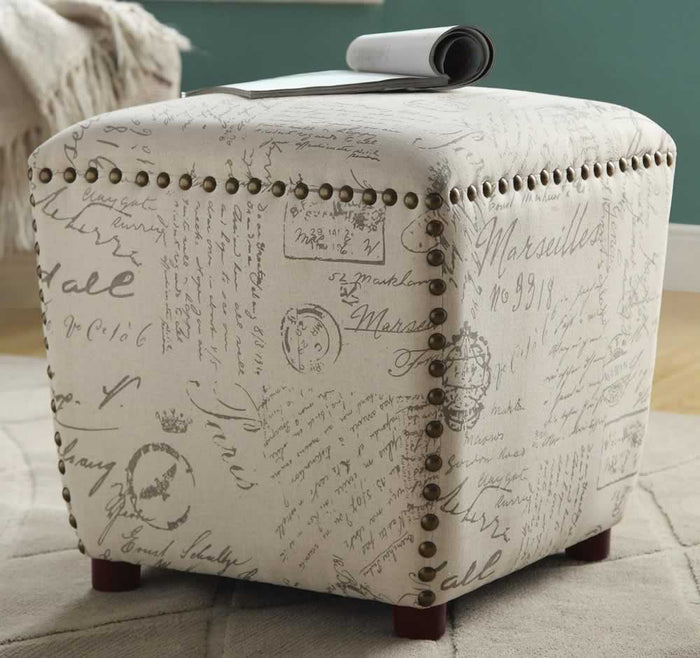 Script Pattern Cube Ottoman with Nail Head Accents