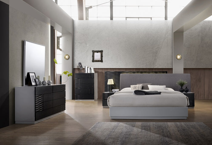 Becca Grey and Black Modern Bedroom Collection
