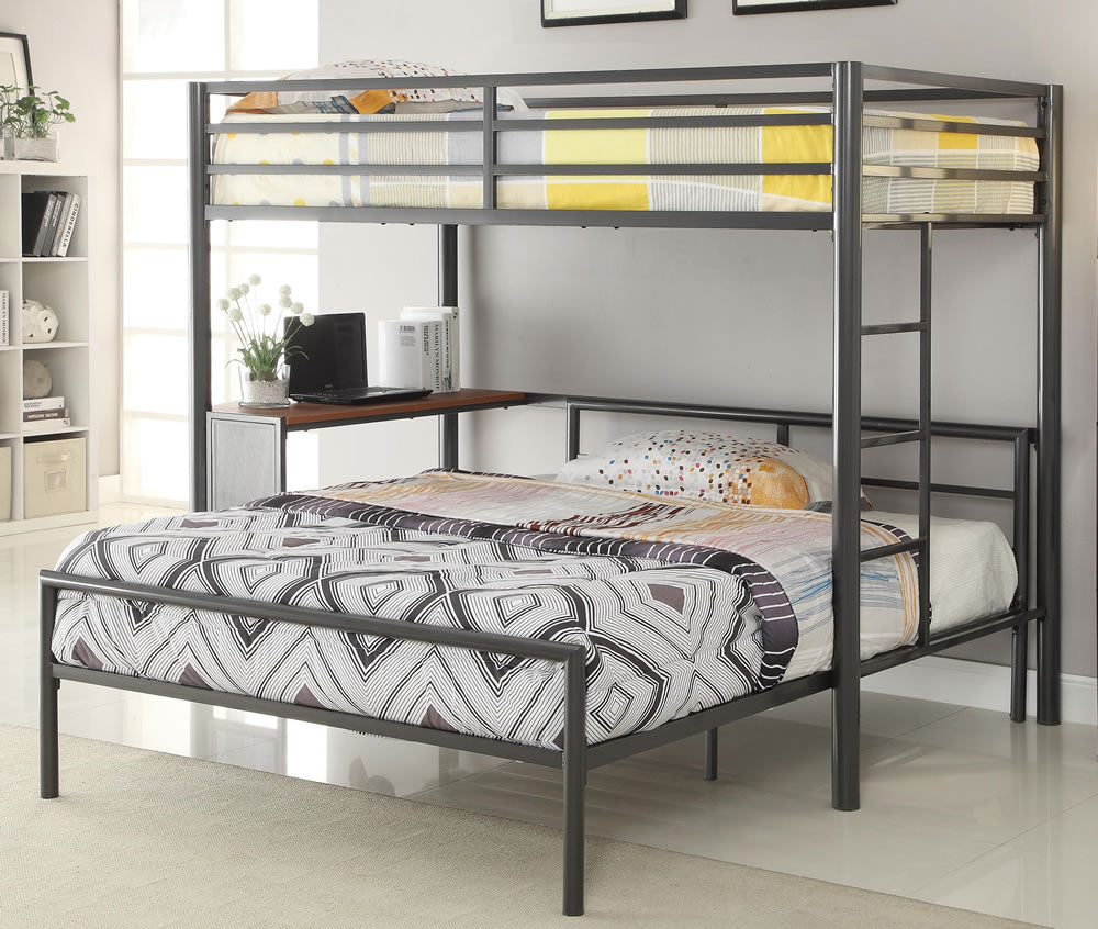 Fisher Twin Over Full Metal Work Station Bunk Bed