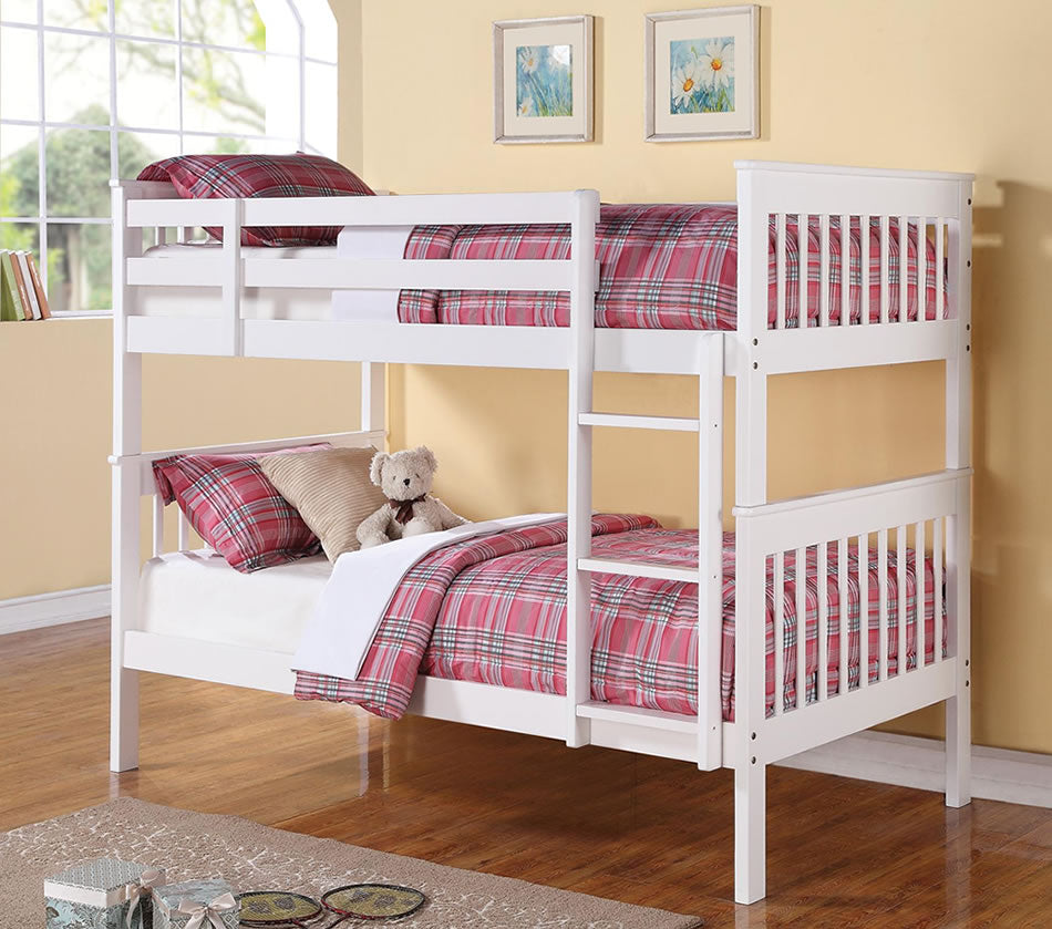 Twin over Twin Bunk Bed in Black or White