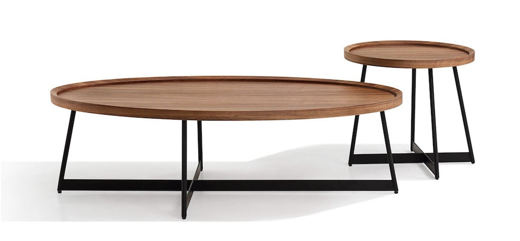 Ursula Walnut Oval Coffee Table with Black Legs