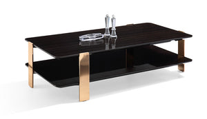 Valli Ebony Coffee Table with Rose Gold Legs