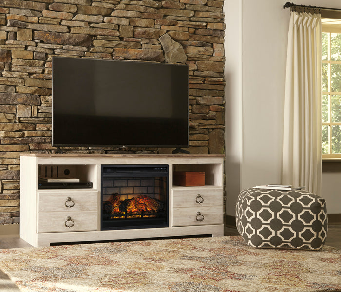 William Dual Tone TV Stand with Optional Fireplace Insert