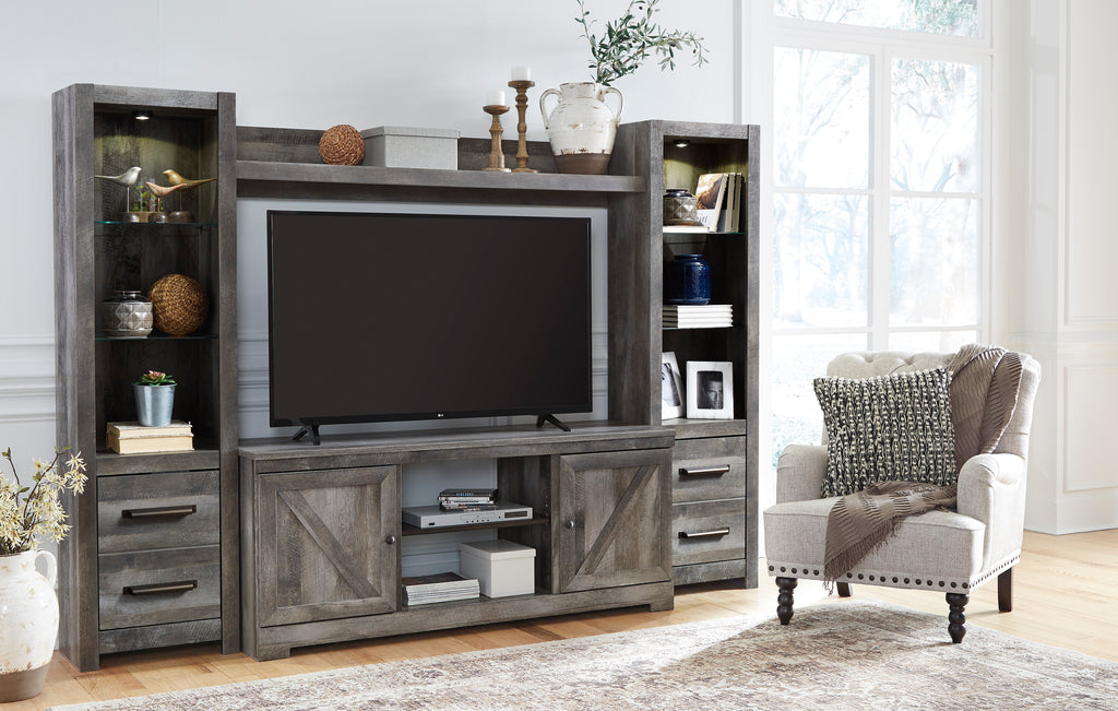 Crossbuck Media Wall Unit with Optional Fireplace Insert