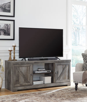 Crossbuck Grey Media Stand with Optional Fireplace Insert