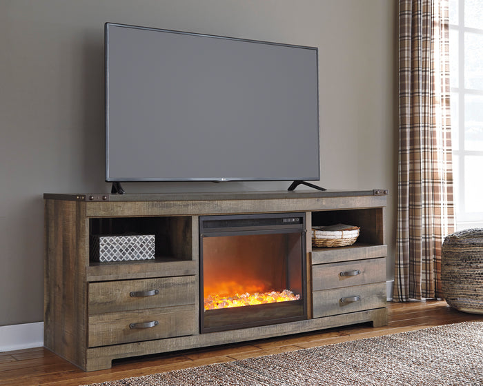 Trish Industrial TV Stand with Optional Fireplace Insert