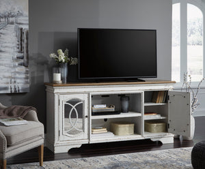 Reagan Dual Tone TV Stand with Optional Fireplace Insert
