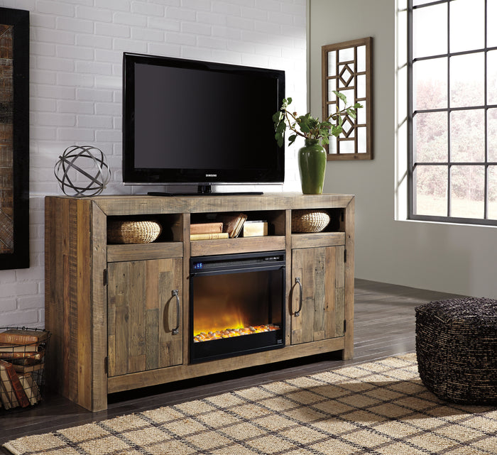 Summer Rustic Media Stand with Optional Fireplace Insert