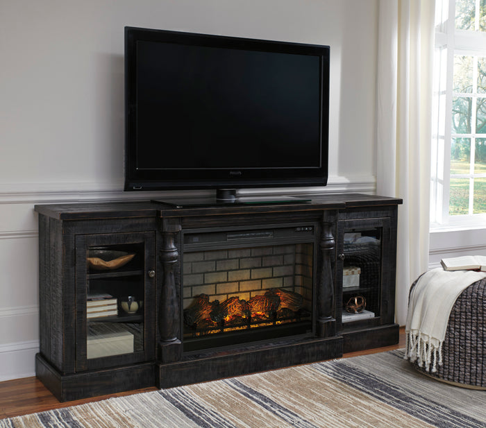 Vintage Black Media Stand with Optional Fireplace Insert