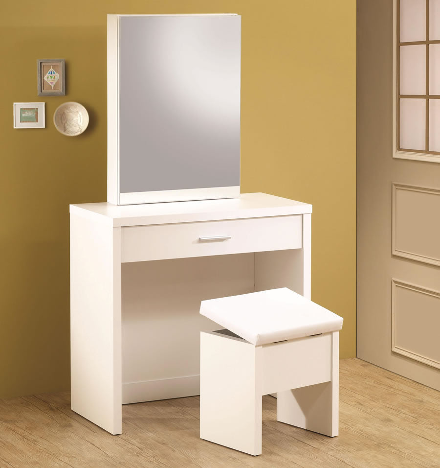 Glossy Vanity with Hidden Mirror Storage in White and Cappuccino