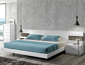 Amera White Lacquered Modern Platform Bed with LED