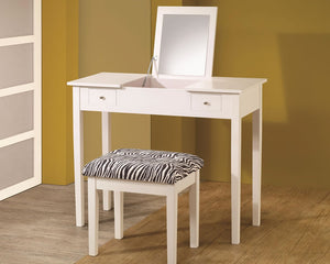 Contemporary White Lift-Top Vanity with Zebra Stool