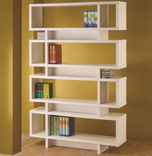Contemporary White Finish Open Bookcase