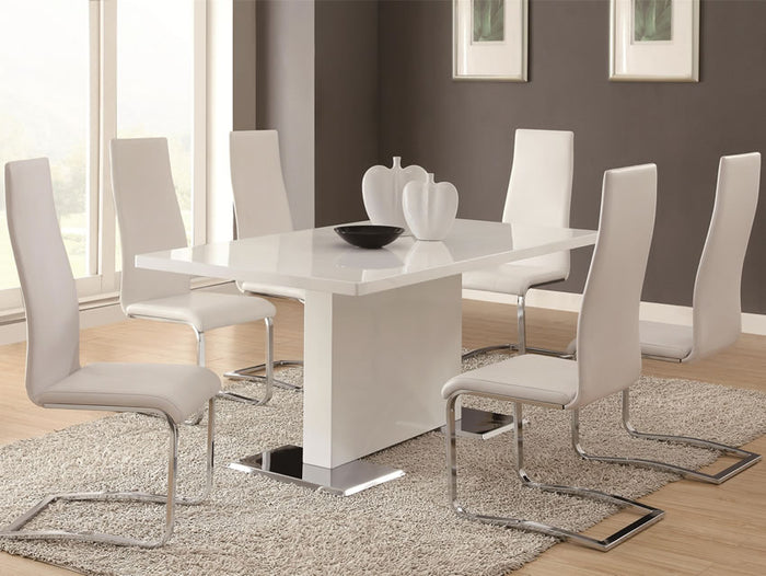 Marquette 7 Piece White Modern Dining Set
