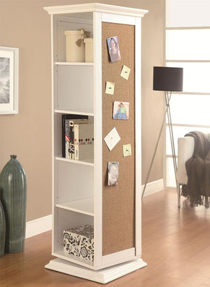 Swivel Storage Cabinet with Cork Board & Mirror in Black or White
