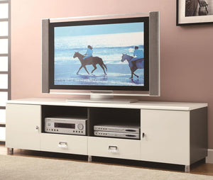 White & Gun Metal Contemporary TV Console