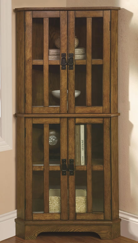 Corner Curio Cabinet with Windowpane-Style Door Fronts