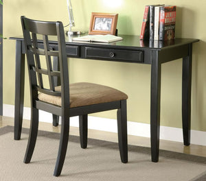 Skokie Writing Desk and Chair Set in Black