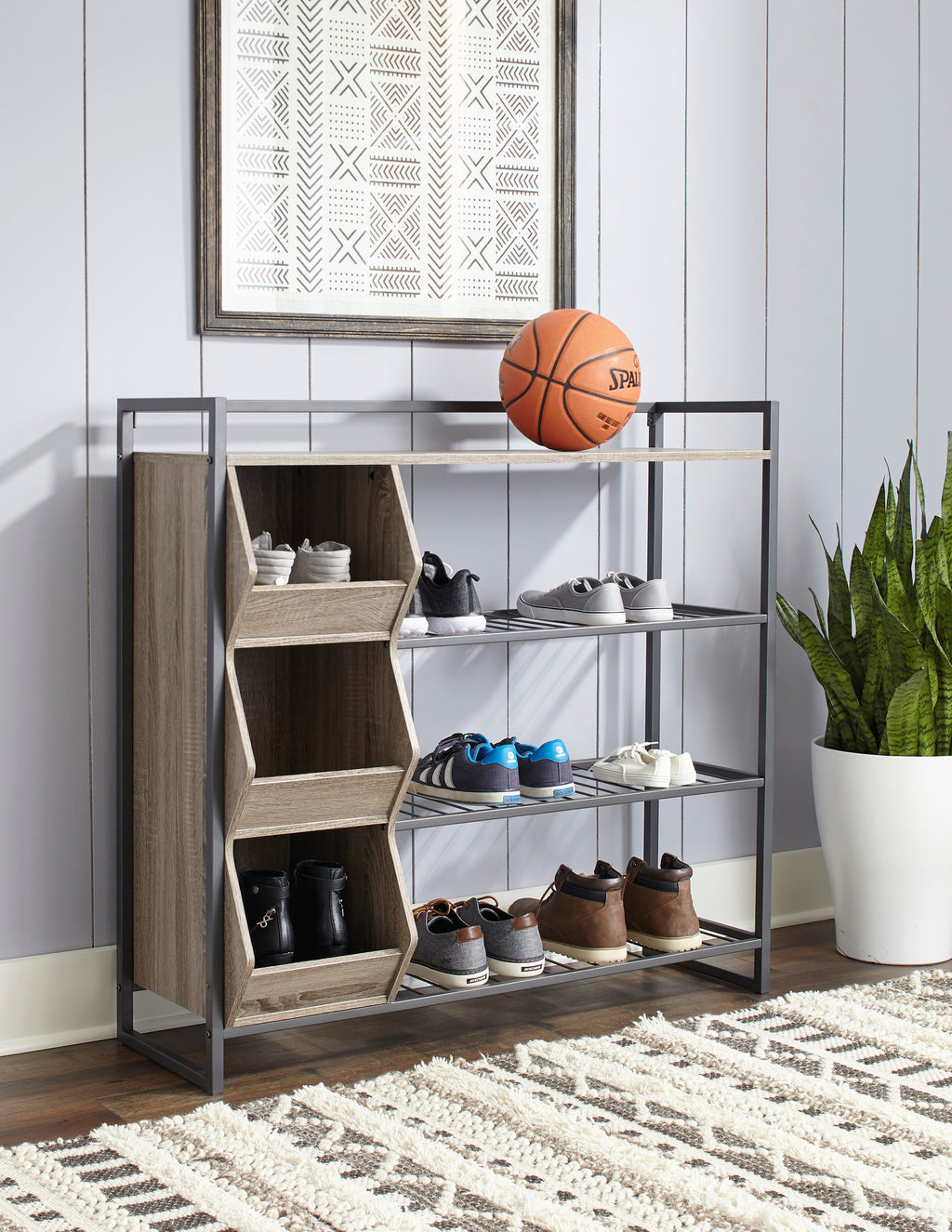Chic Two Tone Shoe Rack with Cubbies