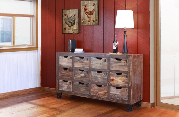 Rustic Numbered Multi-Drawers Console in 2 Color Options
