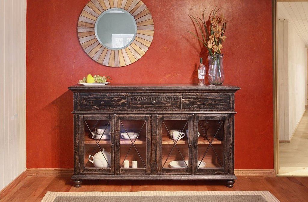 Vintage Weathered Black Console with Storage Drawers