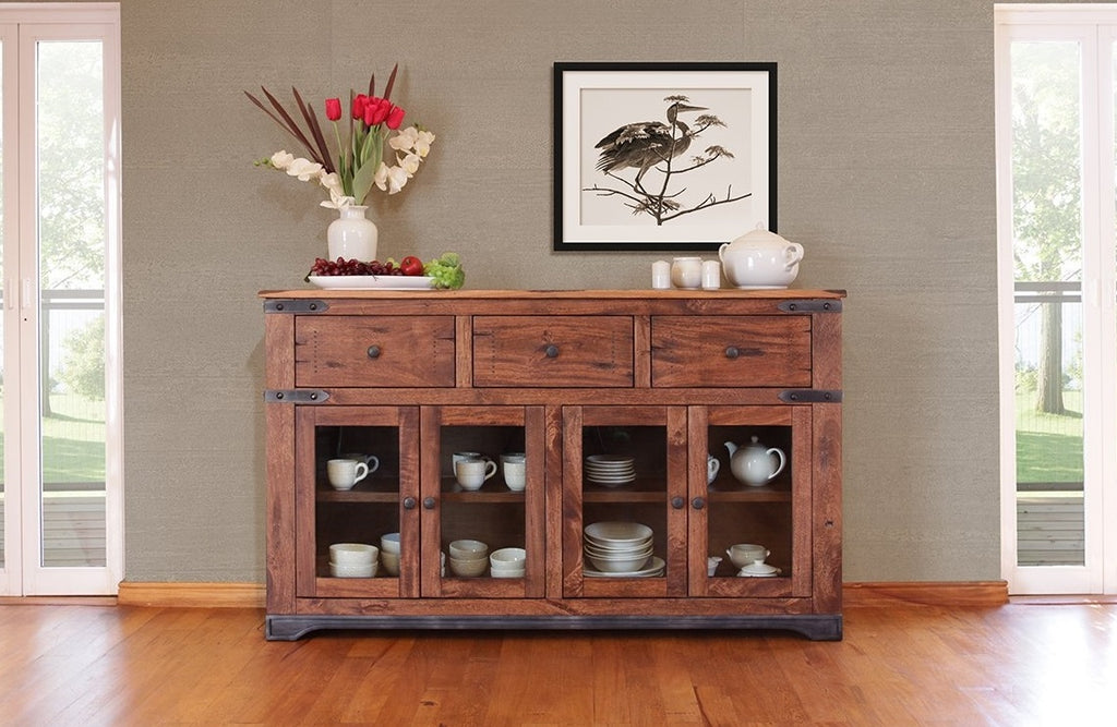 Parota Solid Wood Storage Console with Iron Base