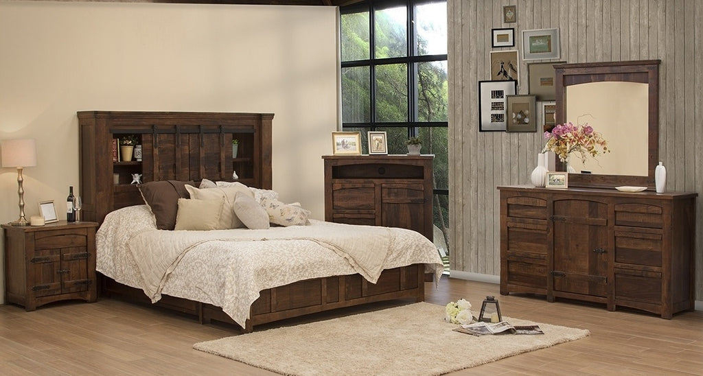 Meza Rustic Solid Wood Storage Bedroom Collection