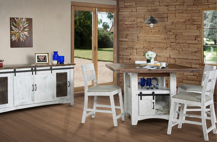 Rustic Counter Height Dining Room Collection with Storage Base
