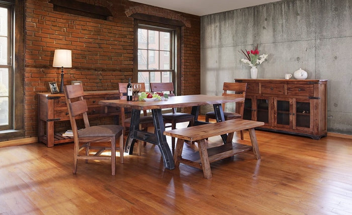 Solid Wood Industrial Dining Room Collection with Iron Base Table