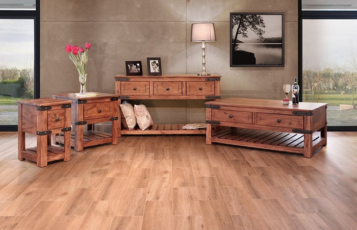 Industrial Solid Wood Occasional Collection with Iron Belt Accents