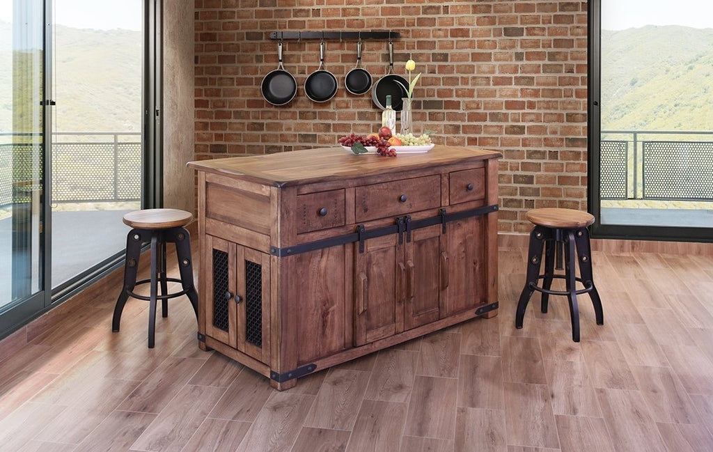Solid Parota Wood Kitchen Island with Hidden Casters and Sliding Barn Doors
