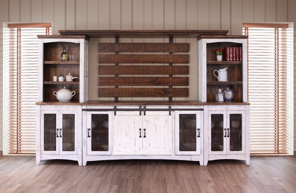 Distressed Solid Wood Dual Tone Wall Unit in White or Black Finish