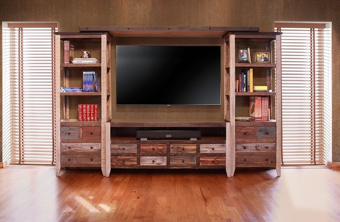 Rustic Antique Multicolor Wall Unit