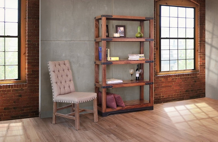 Rustic Industrial Bookcase with Iron Base